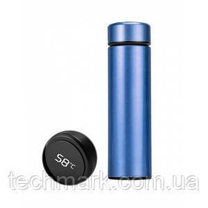 Термос с индикацией температуры CUP Smart Бутылка для воды напитков стальная 500 мл Синий
