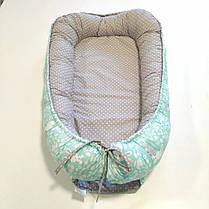 Детский кокон позиционер для новорожденных мятный, фото 2