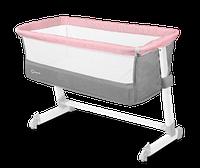 Кроватка приставная Lionelo THEO MAGNOLIA, Польша, Серый с розовым