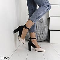 Женские туфли на каблуках черные с бежевым, фото 1