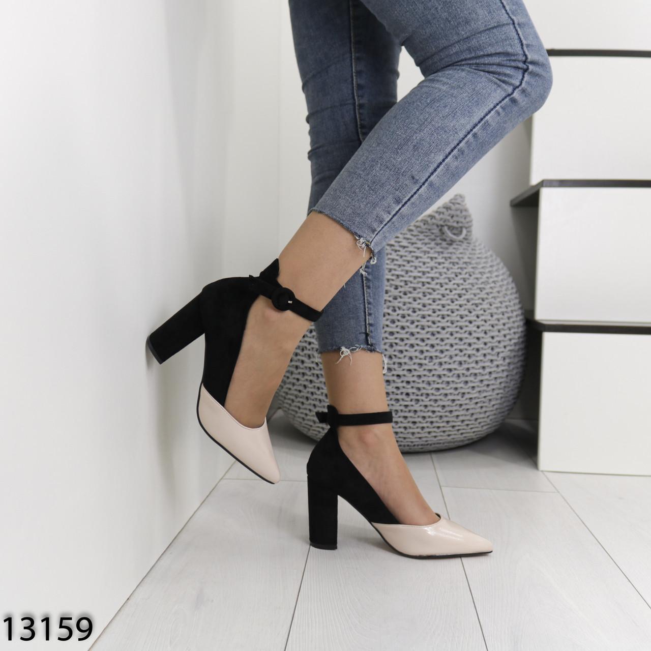 Женские туфли на каблуках черные с бежевым