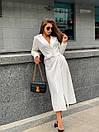 Платье - тренч ниже колена на запах из креп костюмки (р. 42, 44) 17py1599, фото 5