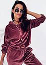 Женский бархатный спортивный костюм с худи с капюшоном и штанами на манжетах 41so1077, фото 2