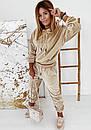Женский бархатный спортивный костюм с худи с капюшоном и штанами на манжетах 41so1077, фото 3