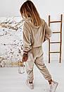 Женский бархатный спортивный костюм с худи с капюшоном и штанами на манжетах 41so1077, фото 5