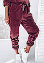 Женский бархатный спортивный костюм с худи с капюшоном и штанами на манжетах 41so1077, фото 6