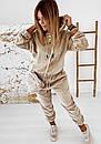 Женский бархатный спортивный костюм с худи с капюшоном и штанами на манжетах 41so1077, фото 7