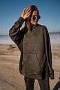 Женский брючный костюм - двойка из замши с объемным худи оверсайз 14ks1377, фото 10