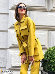 Женский брючный костюм с жакетом под пояс 31ks1382