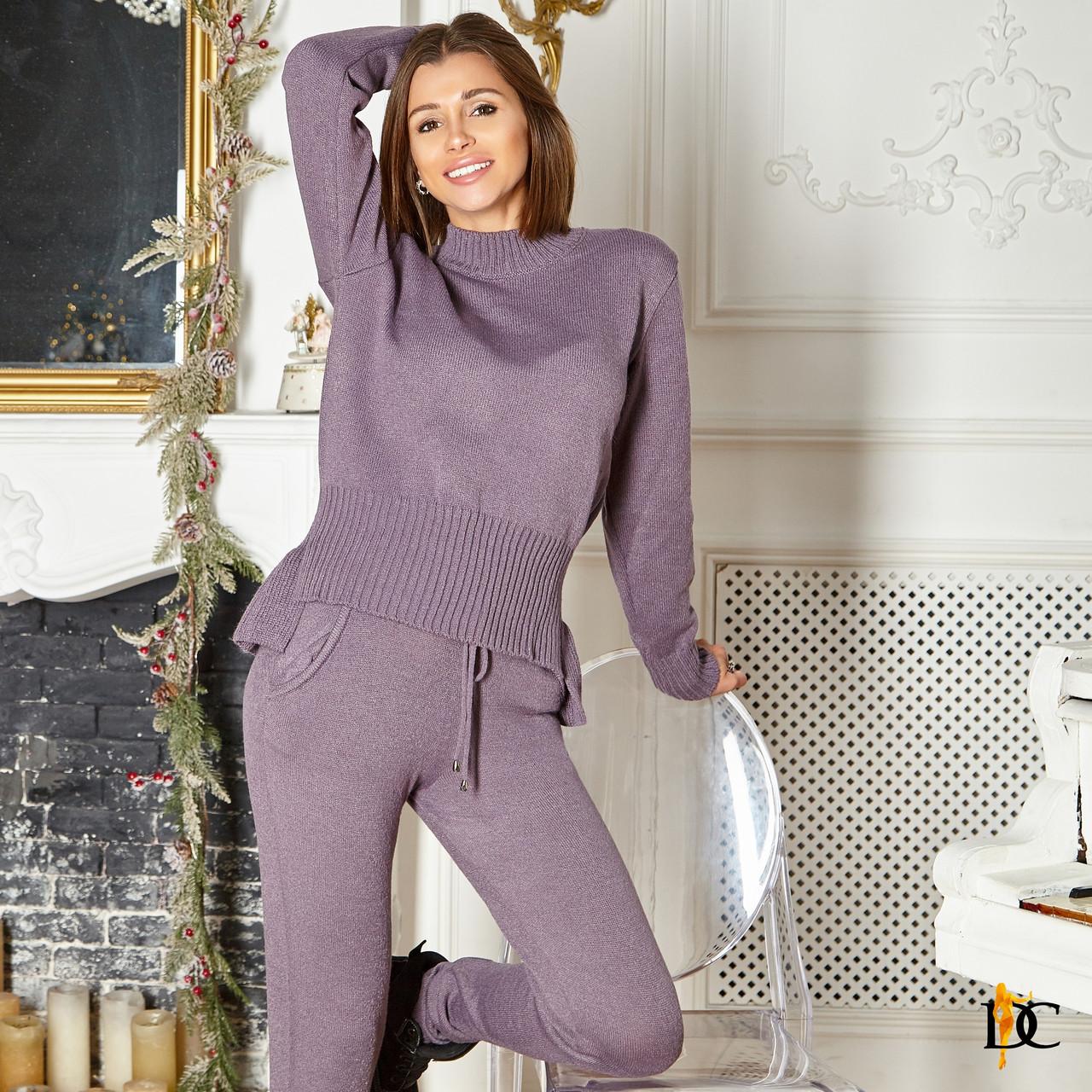 Женский вязаный костюм - двойка с асимметричной кофтой и штанами (р. S-M) 31ks1384
