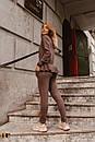 Женский вязаный костюм - двойка с асимметричной кофтой и штанами (р. S-M) 31ks1384, фото 8