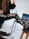 Женские черные лосины на флисе с белой надписью на штанине 83bu526, фото 2