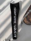 Женские черные лосины на флисе с белой надписью на штанине 83bu526, фото 6