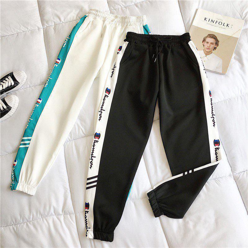 Женские спортивные штаны джоггеры на резинке с лампасами 68bu529