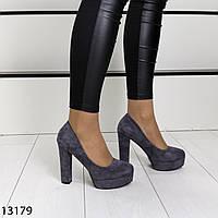 Женские туфли серого цвета эко замша, фото 1