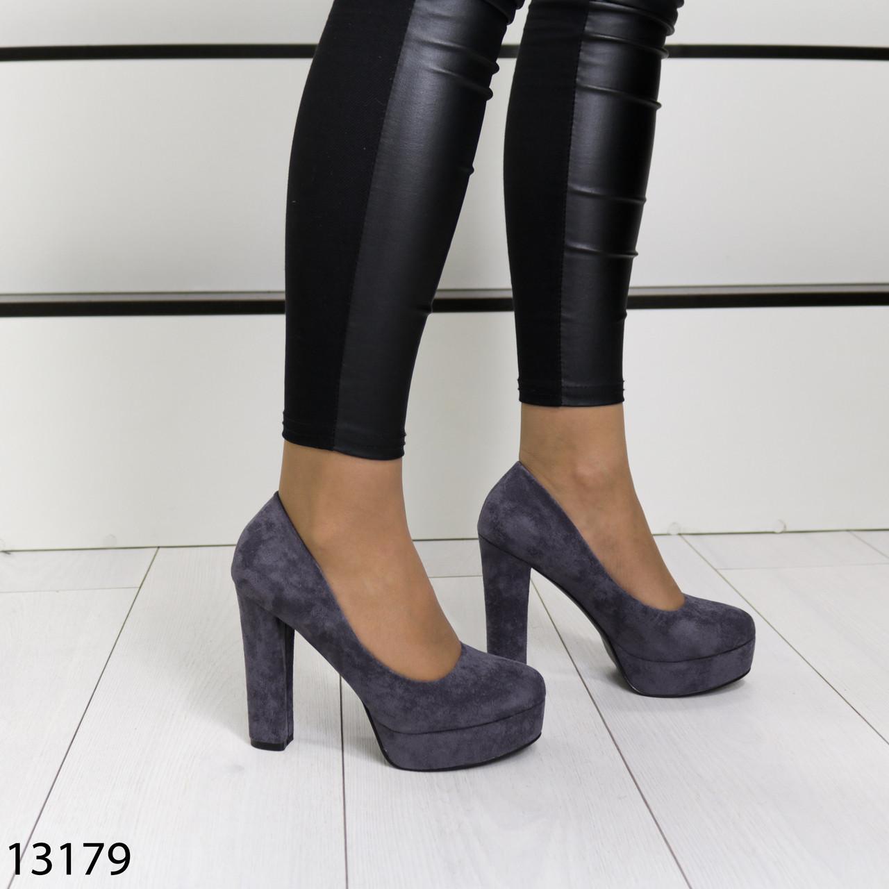 Женские туфли серого цвета эко замша