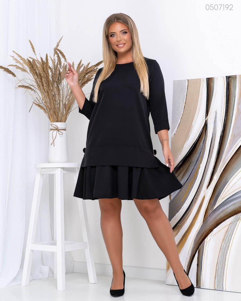 Платье черное с рукавом 3/4 и оборкой на юбке в больших размера 83ba755