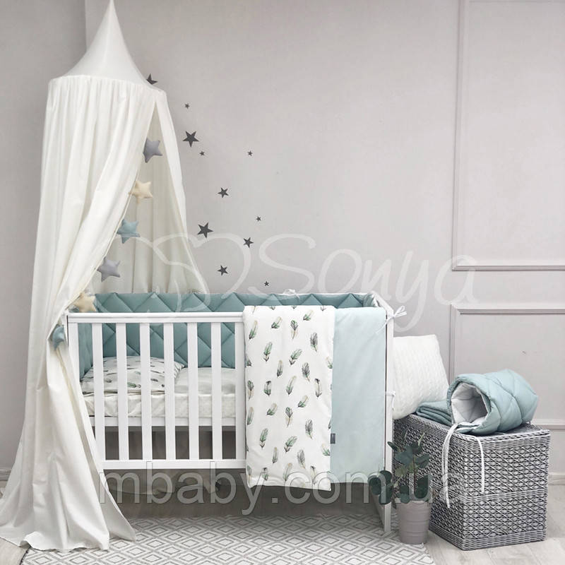 Детский постельный комплект Baby Mix Перо мята