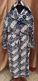 Халат махровый Мужской теплый длинный с капюшоном Серый Большие размеры