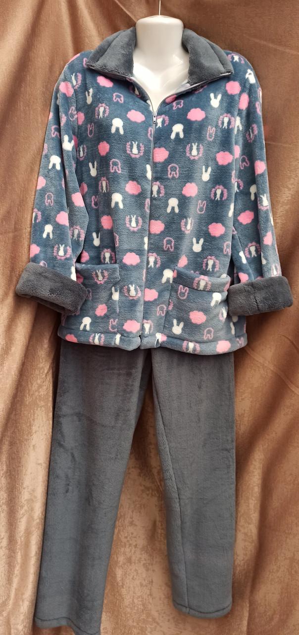 Теплая махровая пижама на молнии Зайка Серый