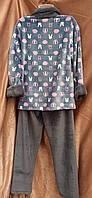 Теплая махровая пижама на молнии Зайка Серый, фото 2