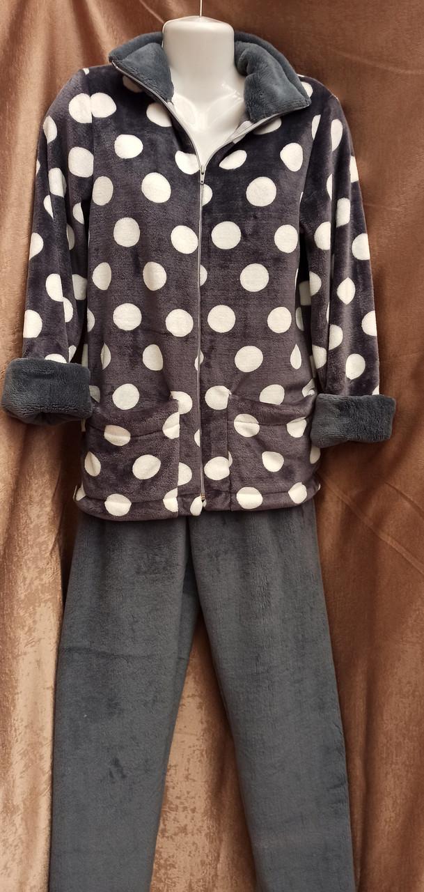Теплая махровая пижама на молнии Горох Графит