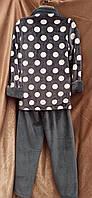 Теплая махровая пижама на молнии Горох Графит, фото 2