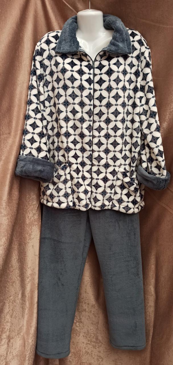 Теплая махровая пижама на молнии Ромбы Графит