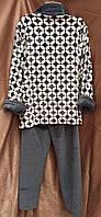 Теплая махровая пижама на молнии Ромбы Графит, фото 2