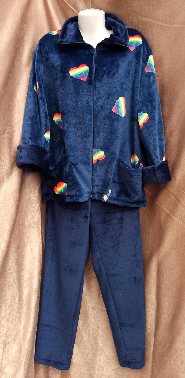 Теплая махровая пижама на молнии Сердечки Темно-синий
