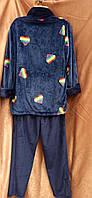 Теплая махровая пижама на молнии Сердечки Темно-синий, фото 2