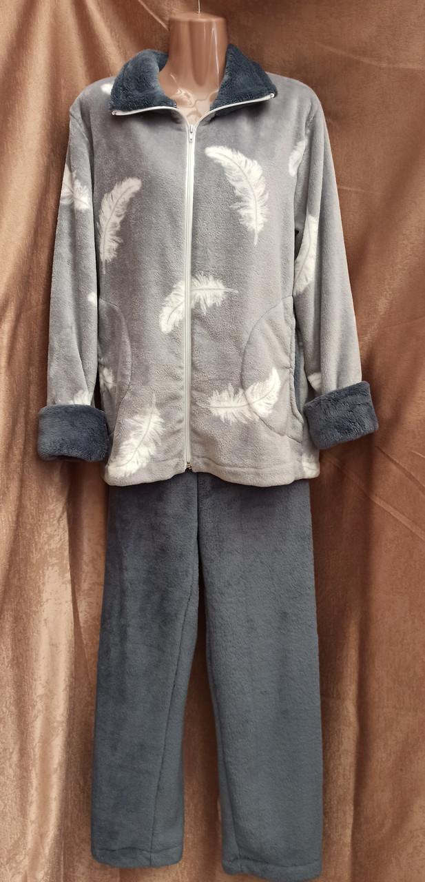 Пижама махровая на молнии Перо Серый домашний костюм Большого размера