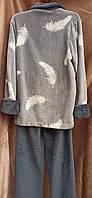 Пижама махровая на молнии Перо Серый домашний костюм Большого размера, фото 2