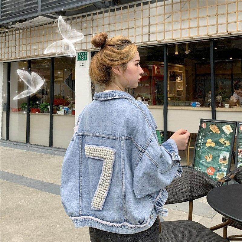 """Женская джинсовая куртка оверсайз укороченная с цифрой """"7"""" из жемчуга на спине 83ki337"""