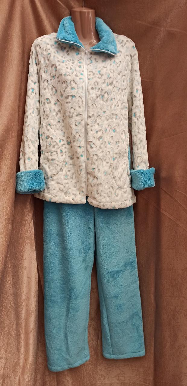 Пижама махровая на молнии Леопард Голубой домашний костюм