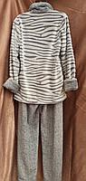 Теплая махровая пижама на молнии Шиншила Серый Большого размера, фото 2