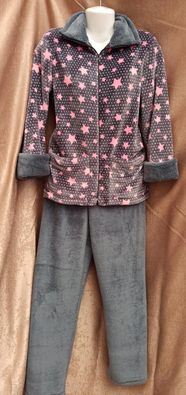 Теплая махровая пижама на молнии Звезды Графит Большого размера