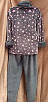 Теплая махровая пижама на молнии Звезды Графит Большого размера, фото 2