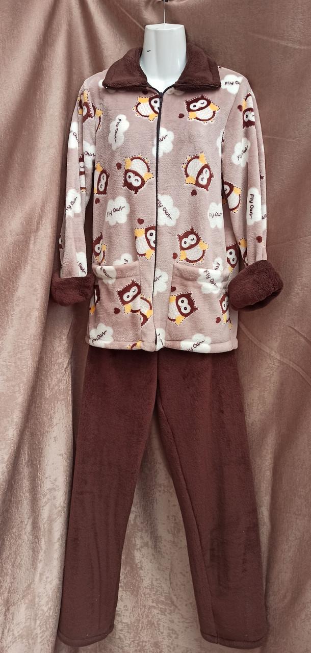 Теплая махровая пижама на молнии Совы Коричневый Большого размера
