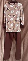 Теплая махровая пижама на молнии Совы Коричневый Большого размера, фото 2