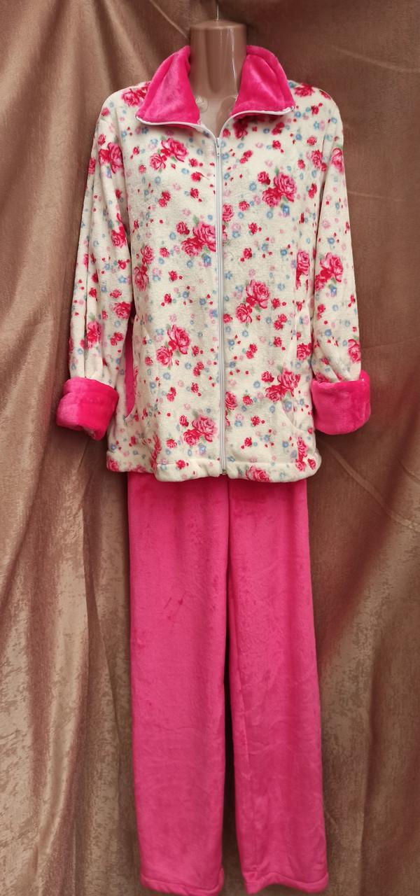 Теплая махровая пижама на молнии Цветы Розовый Большого размера