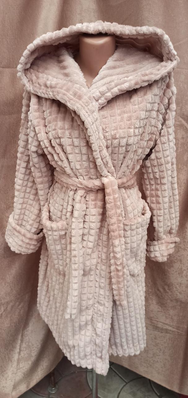 Короткий махровый халат на запах с капюшоном Соты Капучино