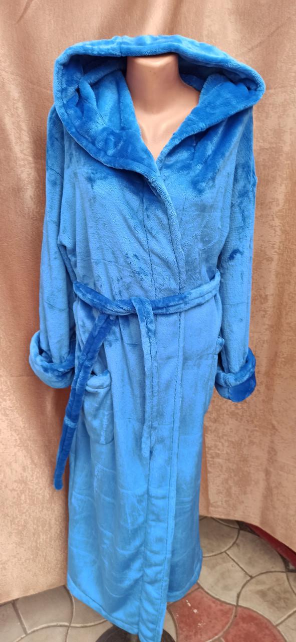 Длинный махровый халат на запах с капюшоном Большого размера Голубой