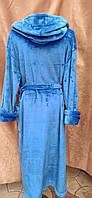 Длинный махровый халат на запах с капюшоном Большого размера Голубой, фото 2