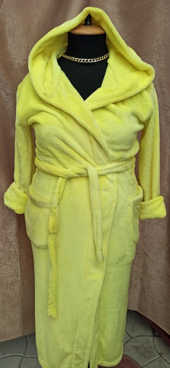 Длинный махровый халат на запах с капюшоном Большого размера Лимонный