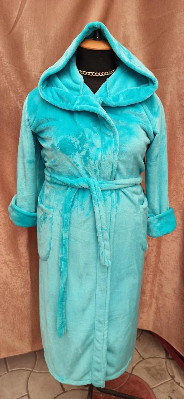 Длинный махровый халат на запах с капюшоном Большого размера Изумрудный
