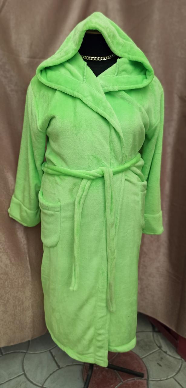 Длинный махровый халат на запах с капюшоном Большого размера Салатовый