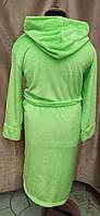Длинный махровый халат на запах с капюшоном Большого размера Салатовый, фото 2