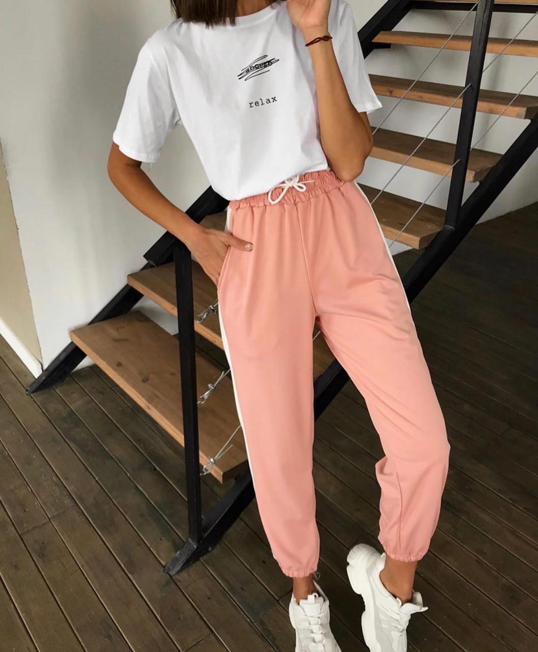 Жіночі спортивні штани джоггеры на гумці і зі шнурком (р. єдиний 42-44) 77lr531