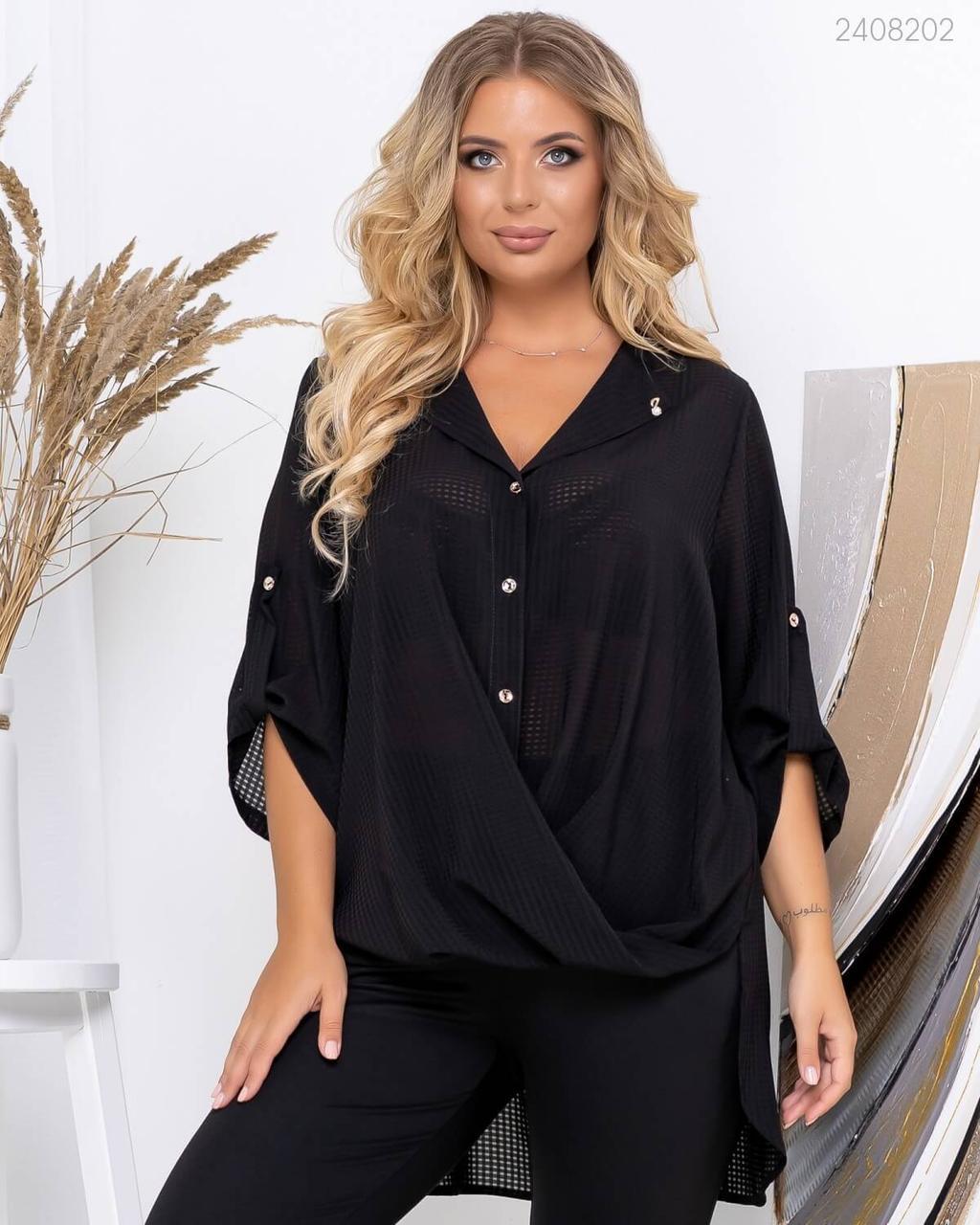 Асиметрична блуза з широким рукавом і коміром у великих рахмерах 83uk757
